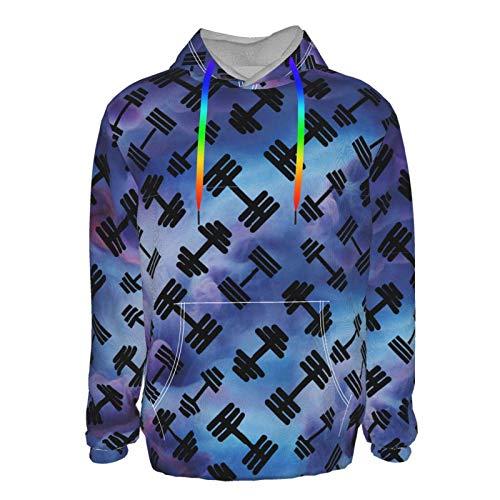 Schwarzer Kurzhantel-Pullover mit Kapuze für Jungen und Herren, lustig, coole Outwear Gr. M, Schwarz