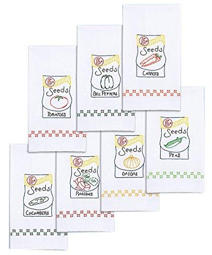 Jack Dempsey estampillé Blanc décoratif Main Serviettes Lot de 7-Seed Paquets