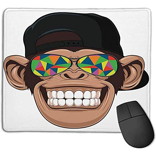 Muis Pad Bundel Cartoon Decor Plezier Hipster Aap met Kleurrijke Zonnebril en Hoed Rapper Hippie Ape Art Graphic