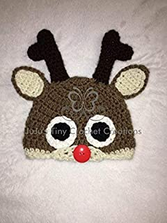 Crocheted Handmade Baby Infant Newborn Reindeer Hat - Christmas Baby's First Christmas Baby Shower Gift Baby Photo Prop Baby Holiday Outfit Halloween Costume