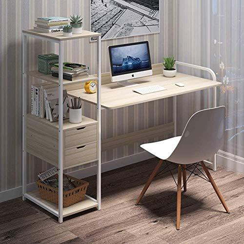 LLXJ Multifunktionaler Computertisch Stahlrahmen Home-Office-Tisch mit Schublade PC-Schreibtisch mit 4-stufigen DIY-Lagerregalen Ahorn Kirschholz-Warmweiß_122 x 40 x 110 cm