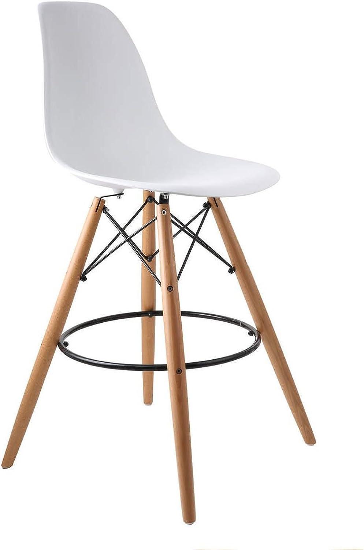 Meubles House ST-PC-16WH-W Kitchen Island Charles Eames Style Eiffel Leg Bar Stool 27 , (White)