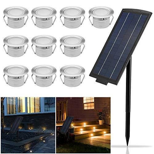10er Solarleuchte LED Bodenstrahler Ø45mm Bodeneinbauleuchten Solarlampen Boden Licht IP65 Wasserdicht DC12V Einbauleuchten Außen Terrasse Küche Garten Lampe