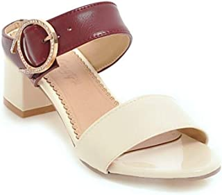 Open Toe Sandals Women Slippers Square Heel Summer Versatile With Any Outfit And Any Occasion (Color : Red, Size : 36)