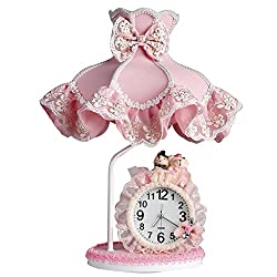 Table Lamp Desk Lamp Light European-style Wrought-iron Table Clock, Simple Creative Iron Lamp Body Lamp Living Room Study Table Lamp, Fabric Lamp Shade Bedroom Bedside Lamp (E27) Indoor Lighting Table