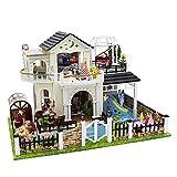 Piezas mecánicas Kit de casa de bricolaje en miniatura Casa de bricolaje Casa de muñecas para niños Juguetes de costura a mano Ensamblados Modelo arquitectónico creativo Casa de campo Regalo para n