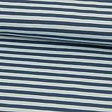 Baumwolljersey Streifen Jeansblau - Preis Gilt für 0,5