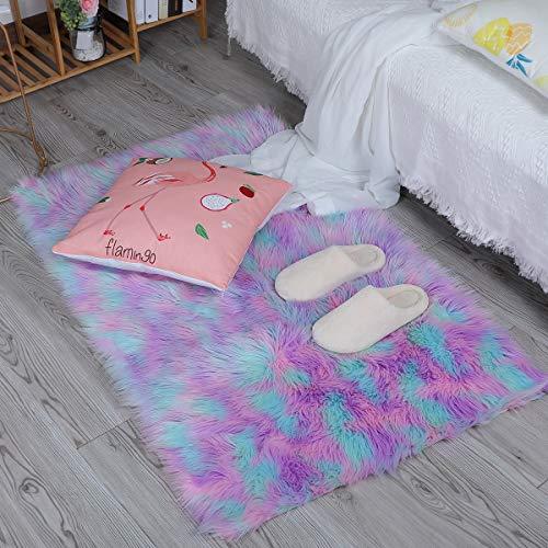 HEQUN Faux Lammfell Schaffell Teppich, Kunstfell Dekofell Lammfellimitat Teppich Longhair Fell Nachahmung Wolle Bettvorleger Sofa Matte (Grün+Rosa+lila, 60 x90cm)