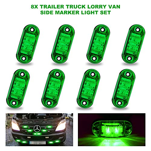 8PCS Feux de Gabarit LED latéral Eclairage Vert,Light Side Marker Lumières Feux De Côté Led, Feux De Dégagement Universel 12V / 24V pour voiture camion van remorques camion bus de voiture