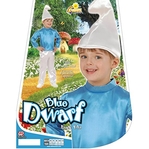 Amakando Disfraz de enano para nios, 104 cm, 2  3 aos, disfraz de Pitufo azul, disfraz para carnaval, disfraz de gnomo, disfraz de cmic