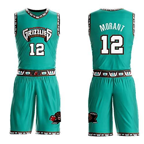 XZM JA Morant Memphis Grizzlies No. 12 Felpa da Competizione per Giocatore, Abbigliamento da Basket T-Shirt Sportiva in Mesh Traspirante, Allenamento di Basket Top Fitness per Uomo-Green-L