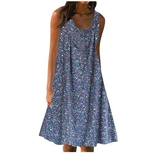 FQZWONG Women's Solid V Neck Casual Print Sundress Sleeveless Loose Plus Size Maxi Dress for Beach Holiday Dating (B-Black,Medium)
