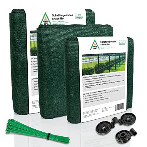 CoverUp! Sichtschutz Zaun 1 x 10 m grün [160 g/m²] ideal für Zäune und Balkongeländer - hochwertiger Zaun Sichtschutz inkl. 50 Kabelbinder und 20 Clips