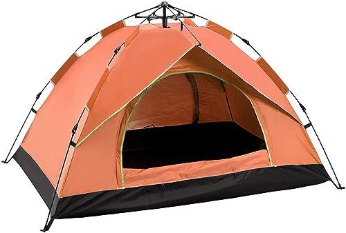 BAOFI Tente de Camping 3 Personnes, Imperméable Plage Randonnée Légère Anti UV Pliable Etanche Instantanée Pop Up Familiale Tentes Ventilée, Orange,34People