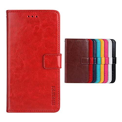 Botongda für TP-LINK Neffos C5A Hülle,Magnetverschluss Kunstleder Tasche mit Standfunktion & Kreditkartensteckplatz Flip Wallet Hülle Cover für TP-LINK Neffos C5A (Rot)