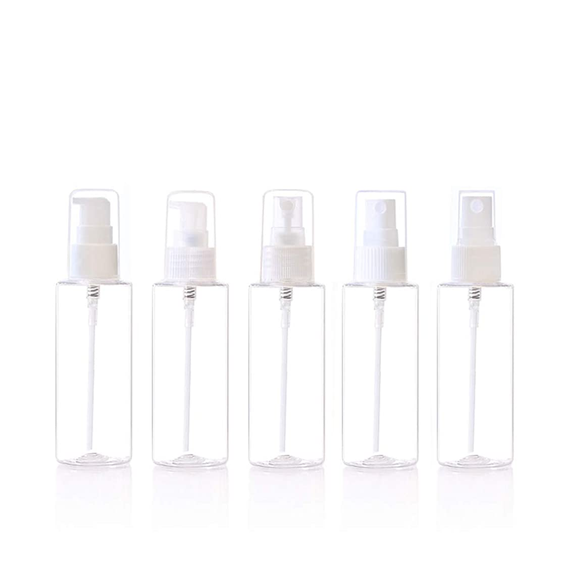 言い聞かせる残高一月化粧用品 5個80ml透明プラスチックアトマイザー/ 4オンスエアレスアトマイズ詰め替えトラベルコンテナ (サイズ : 80ml)