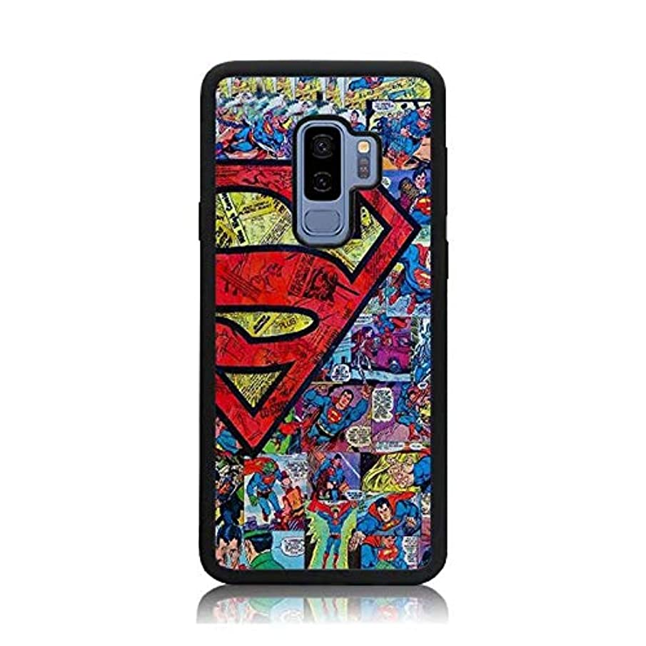 Galaxy S9 Plus Case, Superman Comics Collage Print Shock-Absorption Soft Bumper + Hard Back Cover Anti-Scratch Drop Protection for Samsung Galaxy S9 Plus