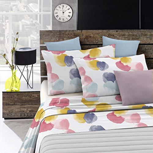 Italian Bed Linen Parure Letto Watercolor, 100% Cotone, Multicolore Wt02, 2 Posti