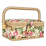 Ginyia Sewing Basket, Portable Double-Layer Household Fabric Craft Handmade Thread Needle Storage Box with Plastic Tray for Buttons, Scissors(#2)