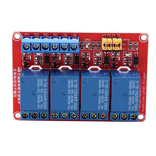 ASHATA Módulo de relé de 4 Canales, módulo de relé optoacoplador, Disparador Alto y bajo, 5 V / 12 V / 24 V, módulo de relé de 4 Canales, Disparador bajo(24 V)