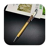 14色クリスタルボールペンドリフト砂キラキラクリスタルペン高級ゴールドパウダー虹色文房具ペン0.7ミリメートル-Yellow-