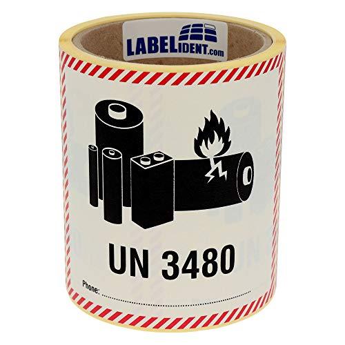 Labelident Transportaufkleber - enthält Lithium Ionen Batterien UN 3480-120 x 110 mm - 500 Verpackungskennzeichen auf 76 mm (3 Zoll) Rolle, Papier selbstklebend