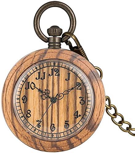 DIEFMJ Bonito Reloj de Bolsillo de Cuarzo de Madera marrón Claro para Mujer, Esfera Grande con números Romanos Relojes de Bolsillo para Mujer, Reloj Colgante clásico de Cara Abierta para Marido
