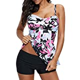 Zando Women Ladies Swimsuits Two Piece Bathing Suits for Women Retro Tankini Top with Boyshort Swimwear Slimming Swimming Suits Long Torso Tankini Swimsuits White Pink Flower 2XL (US Size 12-14)