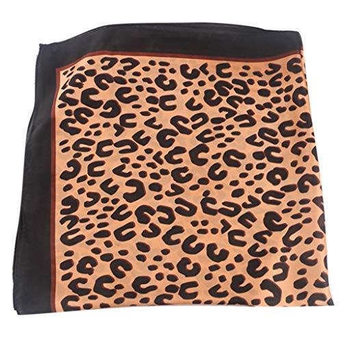 Tancyechy Mujer Bufanda de Pelo de Seda sintética Vintage Estampado de Leopardo Cuello pañuelo Cuadrado pañuelo para Mujer Bufanda