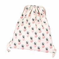 Lookatool Women Pineapple Drawstring Beam Port Backpack Shopping Bag Travel Bag