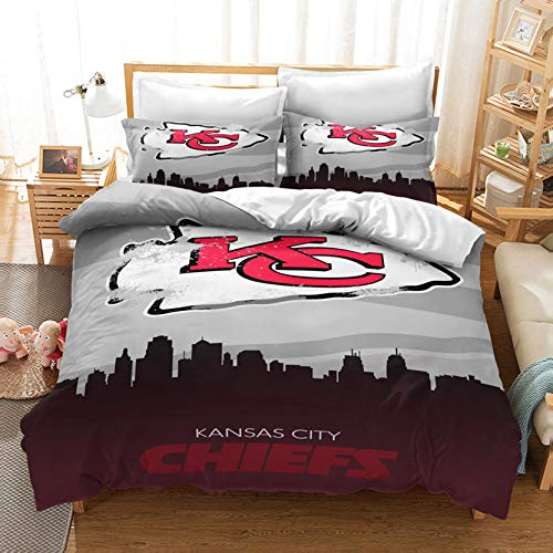 Kansas City American Football Club Duvet Covers Sets Queen Size Chiefs Bedding Rugby Team Logo Sport Theme Duvet Cover Comforter Quilt Covers for Kids Teens 3 Pcs 1 Duvet Cover with 2 Pillow Shams