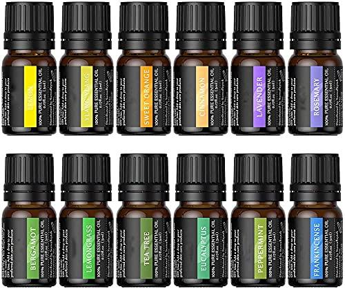 Olio Essenziale Aromaterapia - Set di olio puri al 100%, Lavanda, Arancia dolce, Albero del té, Eucalipto, Citronella, Menta piperita, Bergamotto, Incenso, Limone, Rosmarino, Cannella e Ylang-ylang