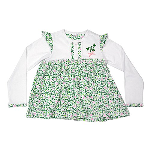 Traditional Craft White Shamrock Kids Long Sleeve Baby Dress (6-12 Months)
