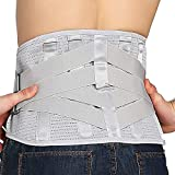 Lower Back Braces for Back Pain Relief - Compression Belt for Men & Women - Lumbar Support Waist Backbrace for Herniated Disc, Sciatica, Scoliosis - Breathable Mesh Design, Adjustable Straps (L, Gray)