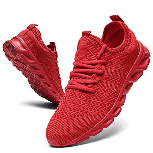 GHFKKB Damen Schuhe Turnschuhe Sportschuhe Sneaker Outdoor Leichtgewichts Laufschuhe Fitness Atmungsaktiv Sommerschuhe Wanderschuhe Gym Walking Running Tennis Shoes Rot 42