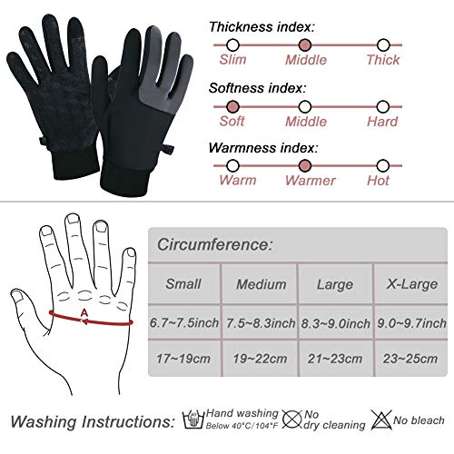 SUOYANA Winter Gloves Touch Screen Gloves Warm Waterproof Windproof Full Palm Non-Slip Lightweight for Women and Men Running,Walking,Cycling,Driving in Cold Weather (Gray,Small)