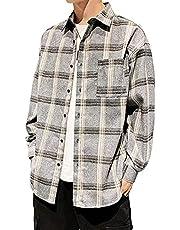 チェックシャツ メンズ 長袖 カジュアル ビジネス ジャケットシャツ シンプル ボタン ダウン オシャレ 大きい サイズ 春秋冬