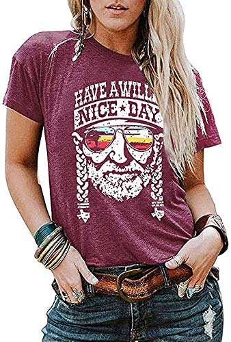 Have a Willie Nice Day T Shirt Willie Nelson Graphic Tees for Women Summer Casual Vacation Shirts Short Sleeve Tops (Medium, Red)