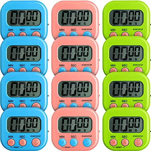 12 Pieces Small Digital Kitchen Timer Count Up and On/ Off Switch Timer with Loud Alarm Magnetic Back Large Display Timer LED Countdown Timer for Cooking Baking Games (Pink, Blue, Green)