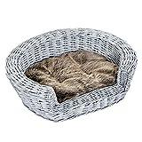 Pawhut Cuccia per Gatti Cani Animali Domestici con Cuscino Morbido per Interno Rattan 57 × 46 × 17.5cm