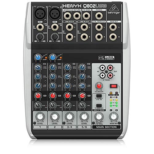 Behringer Q802USB Xenyx Premium 8-kanaals 2-bus mixer met Mic preamps/compressoren/British EQs en USB/audio-interface