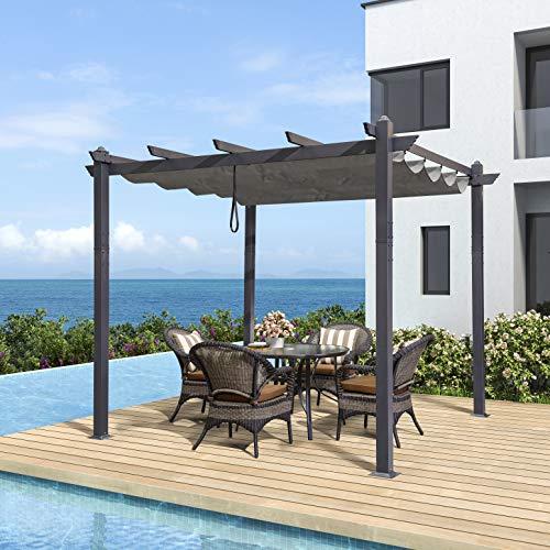 PURPLE LEAF 10' X 10' Aluminum Outdoor Retractable Canopy Pergola Deck Garden Grape Trellis Pergola Patio Gazebo, Gray