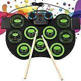 TTLIFE Batería Electrónica Drum Set Portátil Tambor Electrónica con 9 Almohadillas de Batería 2 Pedales Altavoces Incorporados conector para auriculares Electrónica Drum Kit Regalos para principiantes