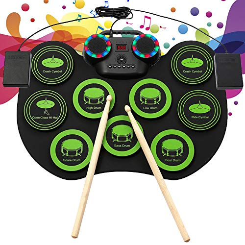 TTLIFE Batteria elettronica Roll Up Drum 9 Drum Pad sensibili Altoparlante Bluetooth integrato con jack per cuffie Kit Mini Drum Machine Regali per bambini e principianti