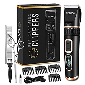 Dog Clippers Professional Heavy Duty Dog Grooming Clipper 3-Speed Low Noise High Power Rechargeable Cordless Pet Grooming Tools for Small & Large Dogs Cats Pets with Thick & Heavy Coats