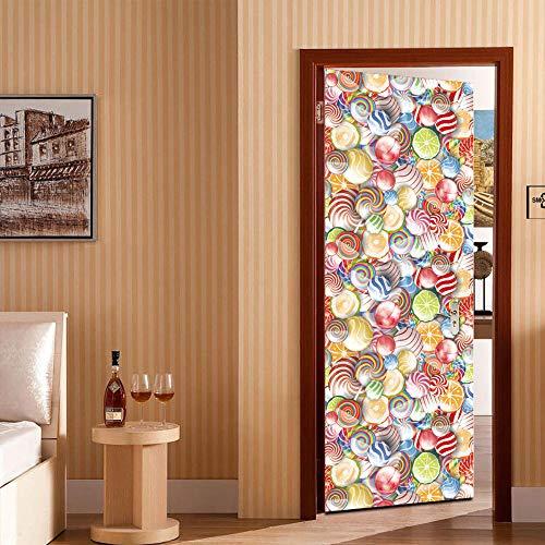 XDJQZX Pegatinas de pared para puerta 3D Lollipops de colores para dormitorio de niños, sala de estar, pegatinas para pared, autoadhesivas, para puerta de 76 x 78 cm