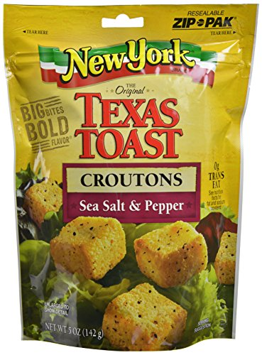 New York Texas Toast Croutons Sea Salt & Pepper, 5-Ounce Bags (Pack of 12)