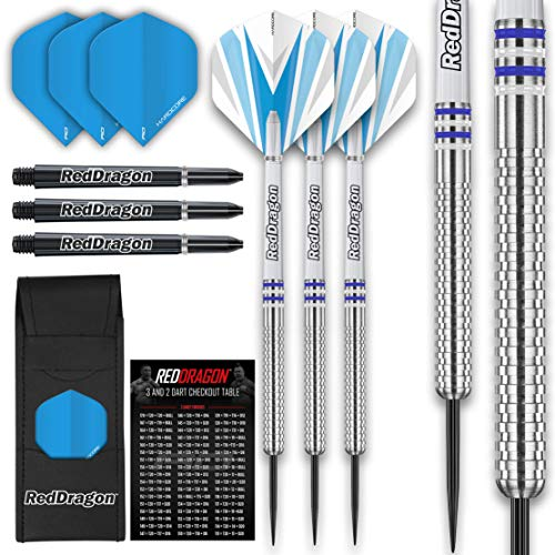 RED DRAGON Raider 1: 23 Gram Steel Tip Tungsten Darts Set - Blue Style Set of Professional Darts with Shafts (Stems), Flights and Checkout Card - Choice of Colour Available