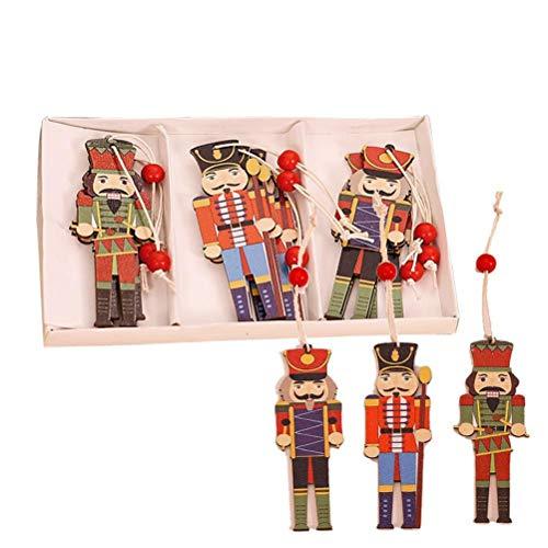 Weihnachten Holz Nussknacker Soldat Schmuck, 9 Stück Walnusssoldat Holz Hängender Anhänger Nussknacker Puppen Weihnachtsschmuck, Weihnachtsdekoration Holzanhänger für Wohnzimmer, Bar, Café