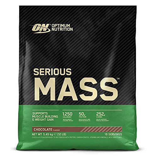 Optimum Nutrition ON Serious Mass Hochkalorisches Weight Gainer Protein Pulver, Whey Protein, Vitamine, Kreatin und Glutamin, Chocolate, 16 Portionen, 5,45kg, Verpackung kann Variieren